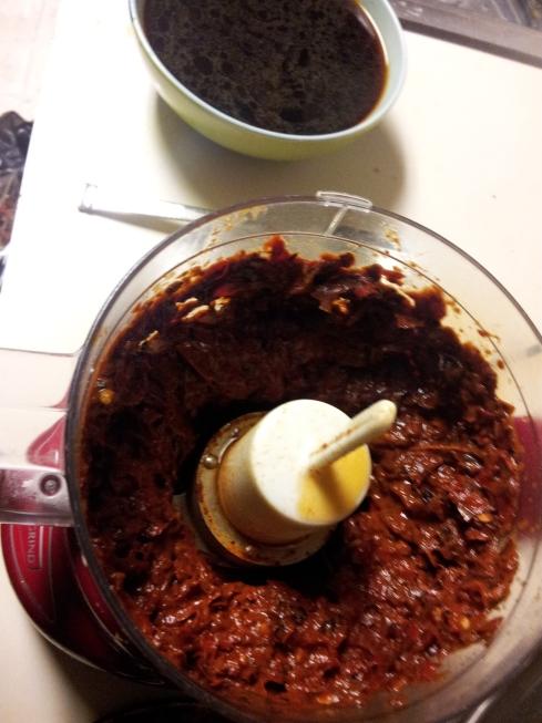 chile and soaking liquid