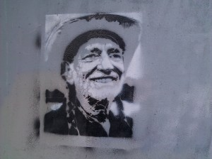 Willie Nelson graffiti.