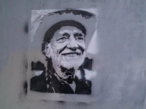 Willie Nelson graffiti.